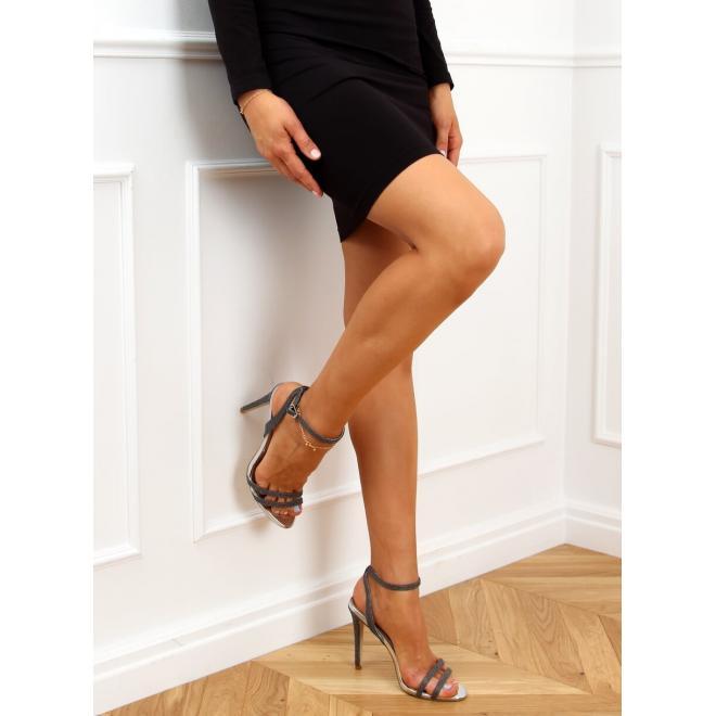Dámske trblietavé sandále na štíhlom podpätku v čiernej farbe