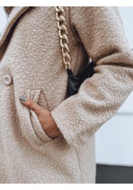 Módny dámsky kabát hnedej farby s golierom