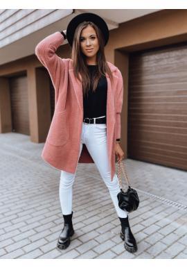 Malinový jesenný kabát alpaka s vreckami pre dámy
