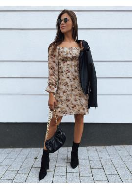 Béžové kvetované šaty s gumkou v páse pre dámy