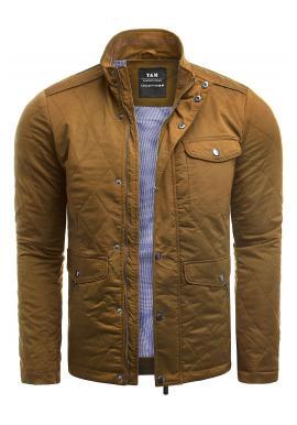 Prešívaná pánska bunda hnedej farby na jeseň