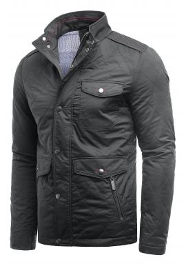 Pánska prešívaná bunda na jeseň v tmavosivej farbe