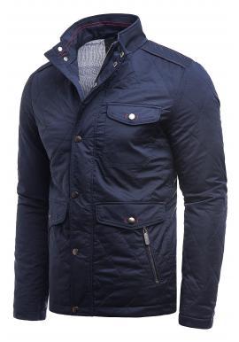 Tmavomodrá prešívaná bunda na jeseň pre pánov