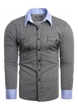 Pásikavá pánska košeľa čiernej farby s vreckami na hrudi