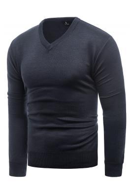 Tmavomodrý klasický sveter s véčkovým výstrihom pre pánov