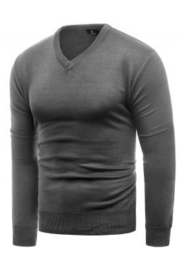 Pánske klasické svetre s véčkovým výstrihom v sivej farbe