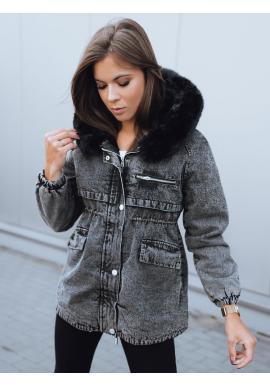 Dámska oteplená rifľová bunda s kapucňou v čiernej farbe