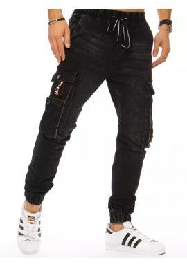 Riflové pánske nohavice čiernej farby s cargo vreckami