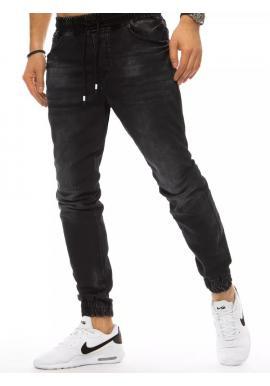 Pánske riflové nohavice s viazaním v páse v čiernej farbe
