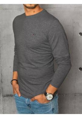 Pánske hladké tričko s dlhým rukávom v tmavosivej farbe