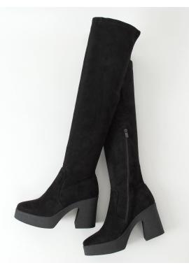 Semišové dámske čižmy nad kolená čiernej farby na kaučukovom opätku