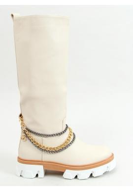 Vysoké dámske čižmy krémovej farby s retiazkami