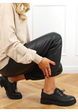 Šnurovacie dámske mokasíny čiernej farby s hrubou podrážkou
