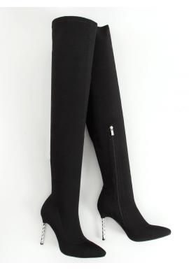 Dámske elastické čižmy nad kolená so strieborným opätkom v čiernej farbe