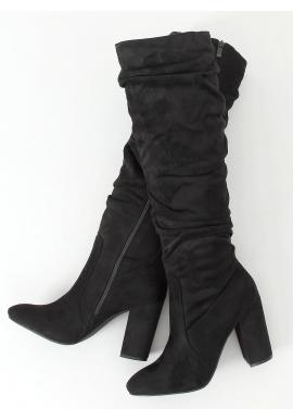 Čierne nariasené čižmy na stabilnom podpätku pre dámy