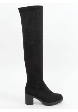 Semišové dámske čižmy nad kolená čiernej farby na širokom opätku