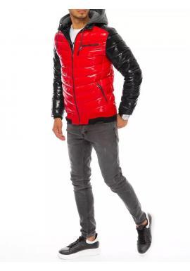 Červeno-čierna prešívaná bunda na zimu pre pánov