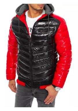 Pánske prešívané bundy na zimu v čierno-červenej farbe