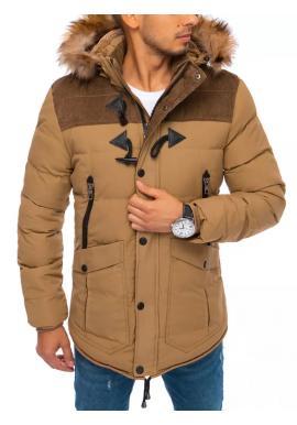 Prešívaná pánska bunda hnedej farby na zimu