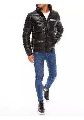 Čierna prešívaná zimná bunda s potlačou pre pánov