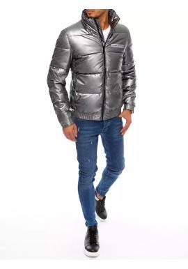 Pánska prešívaná zimná bunda s potlačou v tmavosivej farbe