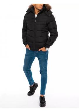 Zimná pánska bunda čiernej farby s kapucňou
