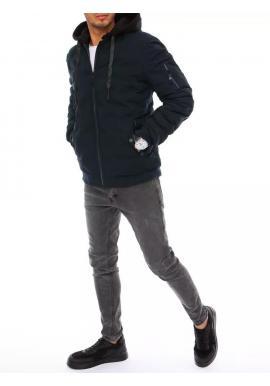 Tmavomodrá zimná bunda s kapucňou pre pánov