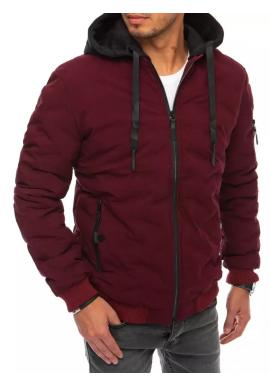 Pánske zimné bundy s kapucňou v červenej farbe