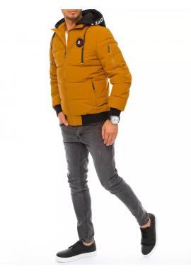 Zimná pánska bunda ťavej farby s potlačou na kapucni