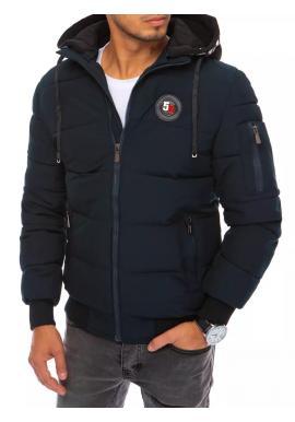 Tmavomodrá zimná bunda s potlačou na kapucni pre pánov