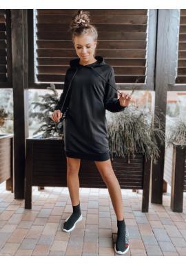 Oversize dámske šaty čiernej farby s ozdobným šnurovaním