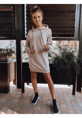 Béžové oversize šaty s ozdobným šnurovaním pre dámy