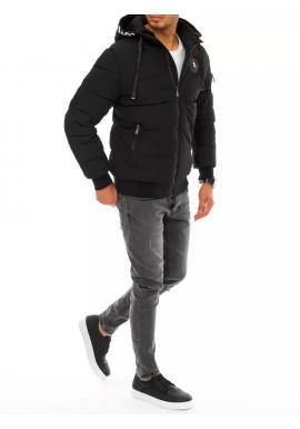Pánska zimná bunda s potlačou na kapucni v čiernej farbe