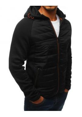 Športová pánska prechodná bunda čiernej farby s kapucňou