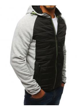 Pánska športová prechodná bunda s kapucňou v sivej farbe