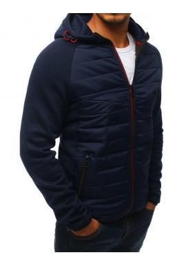 Tmavomodrá športová prechodná bunda s kapucňou pre pánov