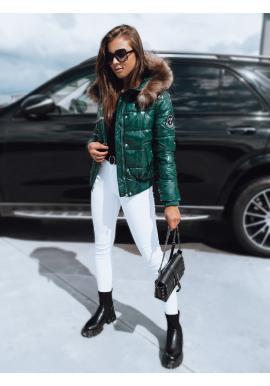 Lesklá dámska prešívaná bunda zelenej farby s kapucňou