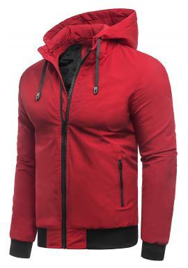 Pánska prechodná bunda s kapucňou v červenej farbe