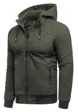 Khaki prechodná bunda s kapucňou pre pánov