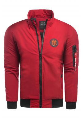 Pánska jesenná bunda s kapucňou v červenej farbe