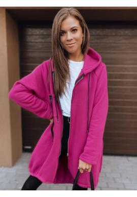 Asymetrická dámska oversize mikina ružovej farby s kapucňou