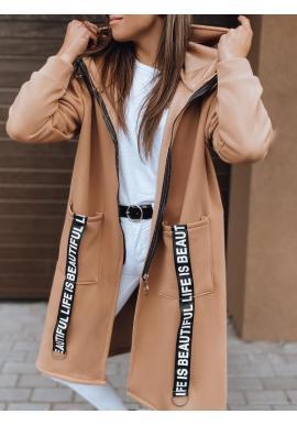 Dlhá dámska oversize mikina hnedej farby s kapucňou