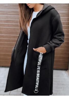 Čierna dlhá oversize mikina s kapucňou pre dámy