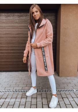 Dámska dlhá oversize mikina s kapucňou v ružovej farbe