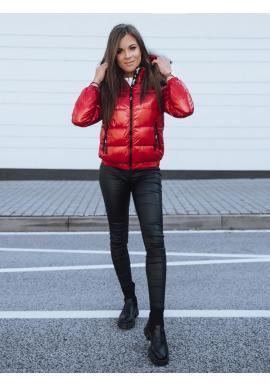 Dámska lesklá bunda na zimu v červenej farbe