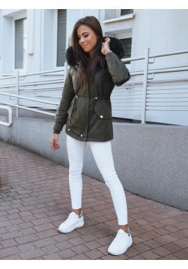 Zimná dámska parka khaki farby s reguláciou v páse