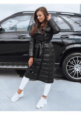 Dámska dlhá prešívaná bunda na zimu v čiernej farbe