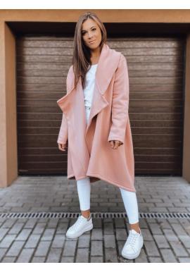 Ružová dlhá oversize mikina zapínaná na gombík pre dámy