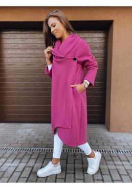 Dlhé dámske oversize mikiny ružovej farby zapínané na gombík