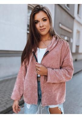 Rebrovaná dámska mikina ružovej farby s oversize strihom